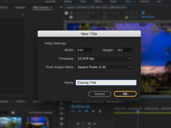 How to Insert Title In a Project Using Adobe Premiere